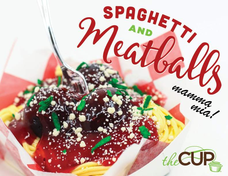 2019 April Fools Cupcake – Spaghetti & Meatballs