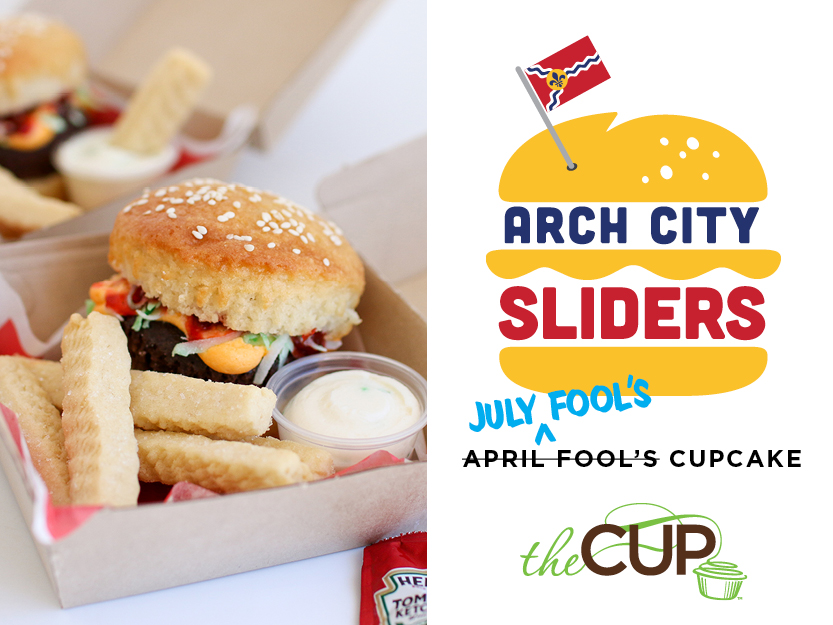 Arch City Slider & Fries July Fool's Cupcake